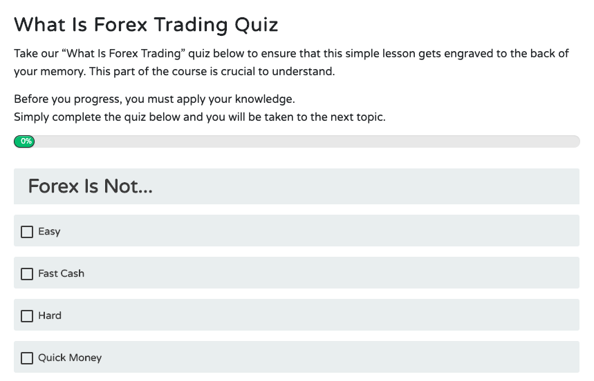 Free Forex Trading Course Quiz Example